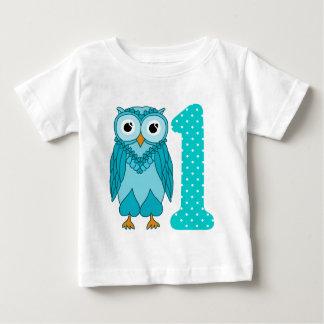 1r Camisa del cumpleaños: Azul del búho