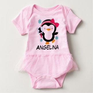 1r Camiseta del pingüino de los chicas del Mameluco De Bebé