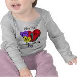 1r Camiseta infantil del LS de los corazones del