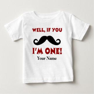 1r Camiseta personalizada bigote del cumpleaños Playera Para Bebé