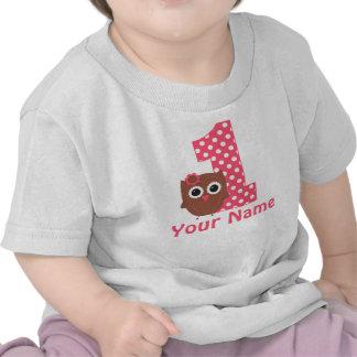 1r Camiseta personalizada búho del chica del cumpl