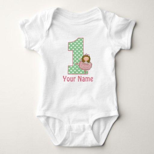1r Camiseta personalizada cumpleaños del ballet Mameluco De Bebé