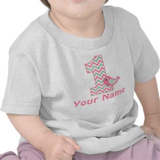 1r Camiseta personalizada pájaro verde rosado del
