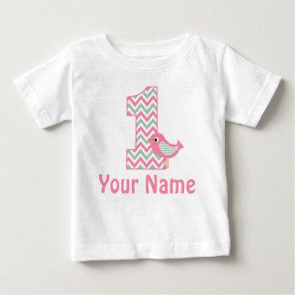 1r Camiseta personalizada pájaro verde rosado del Playeras