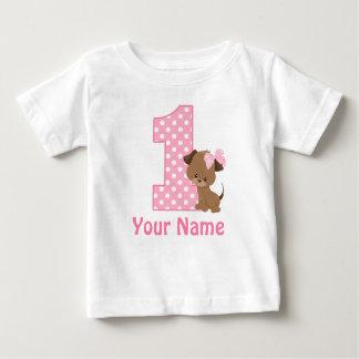 1r Camiseta personalizada perrito del chica del Playeras