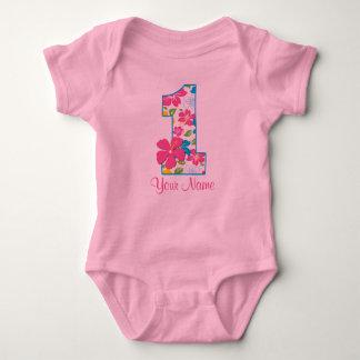 1r Camiseta personalizada tropical del cumpleaños