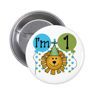 1r Camisetas y regalos del cumpleaños del león Pin Redondo 5 Cm