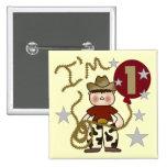 1r Camisetas y regalos del cumpleaños del vaquero Pin