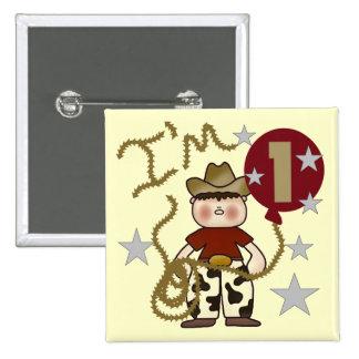 1r Camisetas y regalos del cumpleaños del vaquero Pin Cuadrada 5 Cm