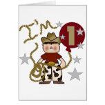 1r Camisetas y regalos del cumpleaños del vaquero Tarjeta