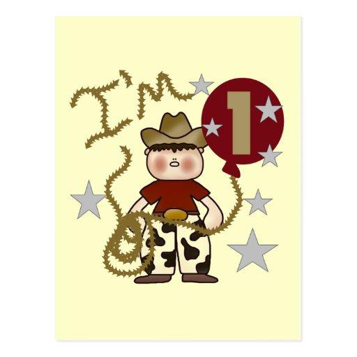 1r Camisetas y regalos del cumpleaños del vaquero Postal
