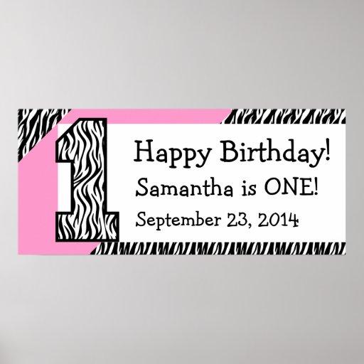 1r Cebra del cumpleaños con el nombre de encargo r Impresiones