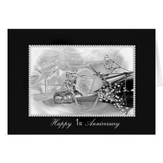 1r Champán y rosas del aniversario Tarjeta De Felicitación