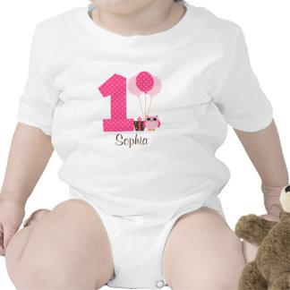 1r chica del cumpleaños de Brown del lunar rosado Traje De Bebé