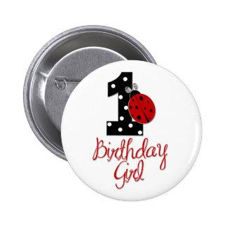 1r Chica del cumpleaños - señora Bug - 1 - mariqui Pin Redondo 5 Cm
