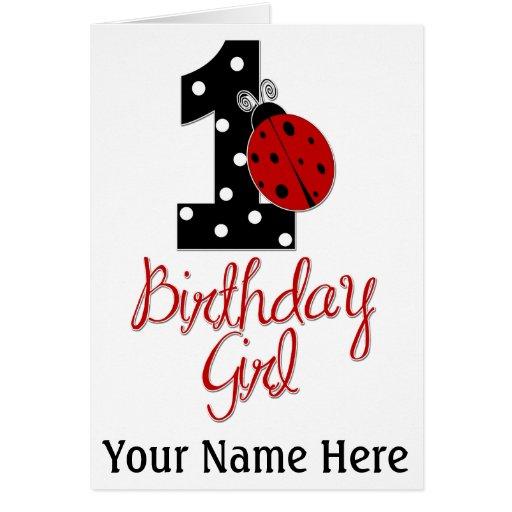 1r Chica del cumpleaños - señora Bug - 1 - mariqui Tarjeta De Felicitación