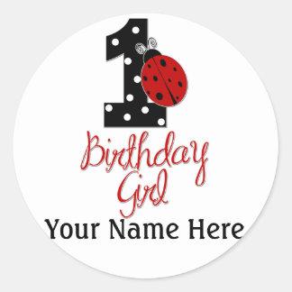 1r Chica del cumpleaños - señora Bug - 1 - Pegatina Redonda