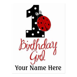 1r Chica del cumpleaños - señora Bug - 1 - Tarjetas Postales