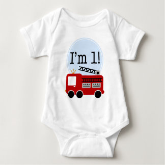 1r Coche de bomberos del cumpleaños Body Para Bebé