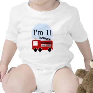 1r Coche de bomberos del cumpleaños Traje De Bebé