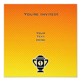 """1r Coloque el trofeo; Amarillo-naranja Invitación 5.25"""" X 5.25"""""""