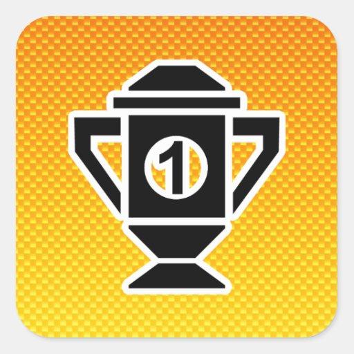 1r Coloque el trofeo; Amarillo-naranja Calcomania Cuadradas