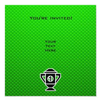 """1r Coloque el trofeo; Verde Invitación 5.25"""" X 5.25"""""""