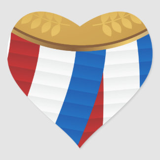 1r Coloque la medalla de oro Pegatina En Forma De Corazón