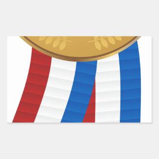 1r Coloque la medalla de oro Pegatina Rectangular