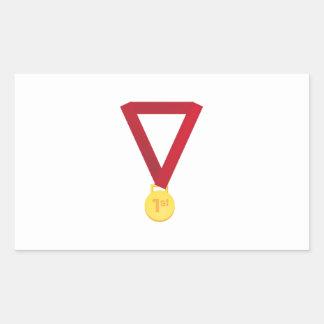 1r Coloque la medalla Pegatina Rectangular