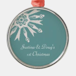 1r copo de nieve del navidad de los recienes adorno navideño redondo de metal