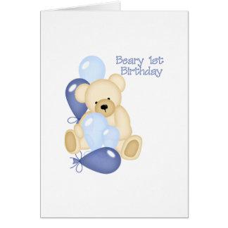 1r cumpleaños de Beary (MUCHACHO) Tarjeta De Felicitación