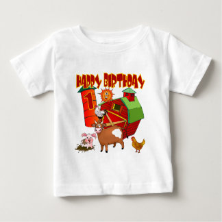 1r Cumpleaños de la granja del cumpleaños Playera De Bebé