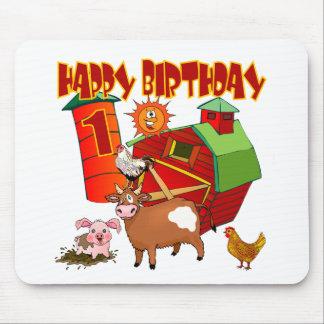 1r Cumpleaños de la granja del cumpleaños Tapetes De Ratón