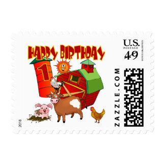 1r Cumpleaños de la granja del cumpleaños Timbres Postales