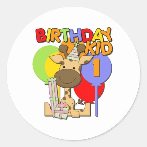 1r cumpleaños de la jirafa etiquetas redondas