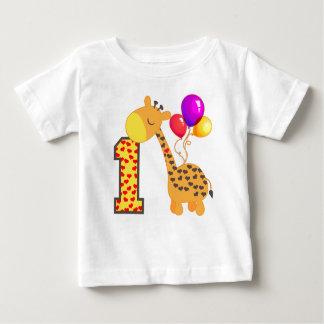 1r cumpleaños de la jirafa playera para bebé