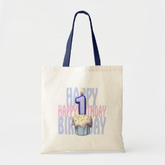 1r Cumpleaños de la magdalena del cumpleaños Bolsas De Mano