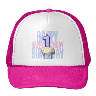 1r Cumpleaños de la magdalena del cumpleaños Gorros Bordados