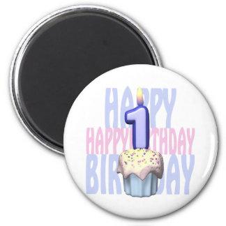 1r Cumpleaños de la magdalena del cumpleaños Iman De Frigorífico
