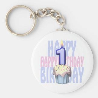 1r Cumpleaños de la magdalena del cumpleaños Llavero