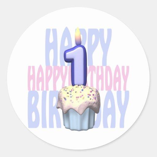 1r Cumpleaños de la magdalena del cumpleaños Pegatina Redonda