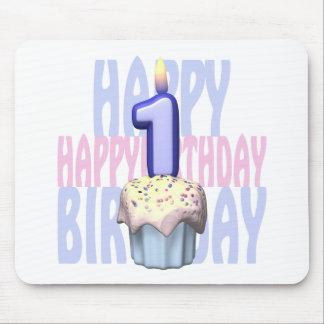 1r Cumpleaños de la magdalena del cumpleaños Alfombrilla De Ratón