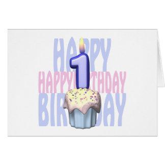 1r Cumpleaños de la magdalena del cumpleaños Felicitación