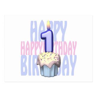 1r Cumpleaños de la magdalena del cumpleaños Postales