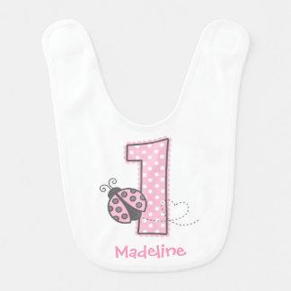 1r cumpleaños de la mariquita rosada baberos para bebé