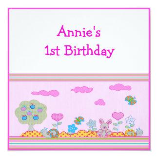 """1r cumpleaños de la niña invitación 5.25"""" x 5.25"""""""