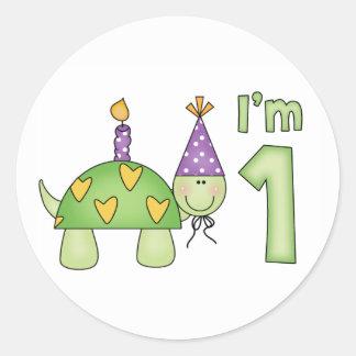 1r cumpleaños de la pequeña tortuga etiqueta redonda