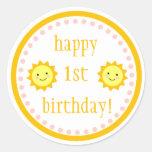 1r cumpleaños de la sol pegatina redonda