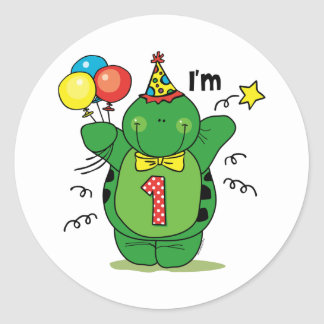1r cumpleaños de la tortuga feliz etiqueta